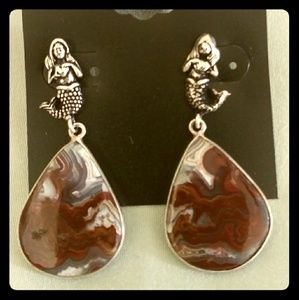 CRAZY LACE AGATE MERMAID EARRINGS
